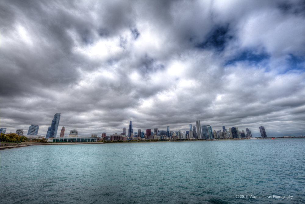 chicago cityscape view from chicago shedd aquarium