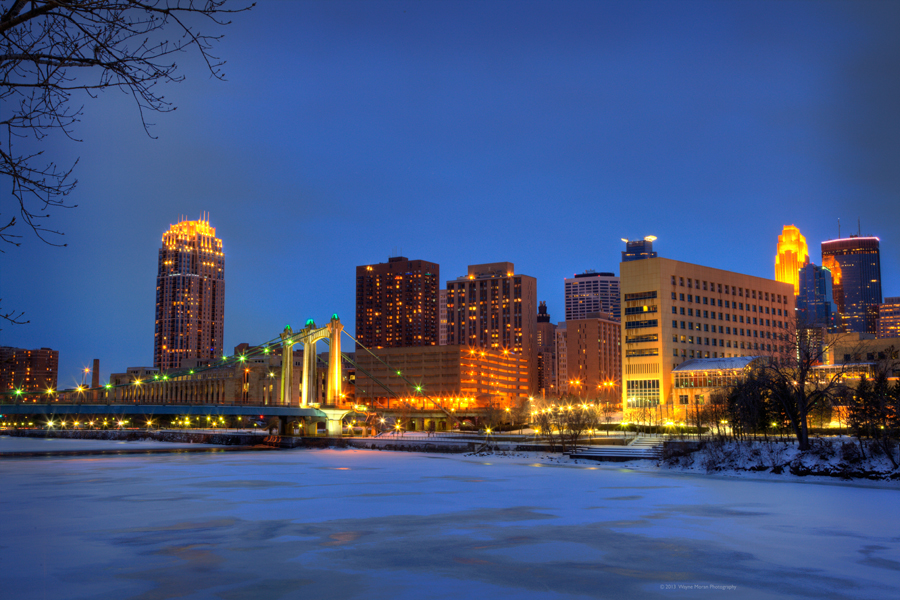 Minneapolis Skyline Photography  hennepin avenue bridge