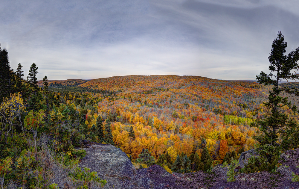 360 view from top of gondola at Lutsen Mountain Resort Autumn Photography on the North Shore of Lake Superior Minnesota